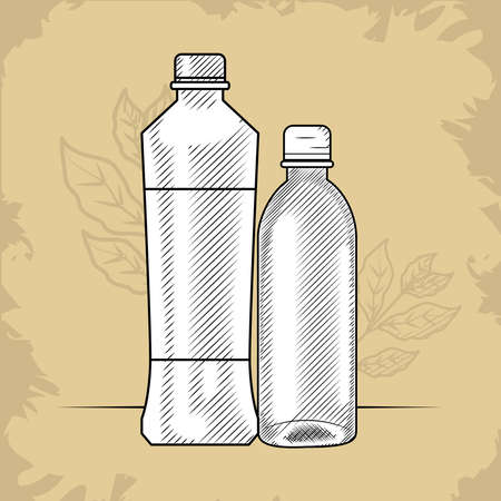 water bottle and plastic bottle, vector illustration