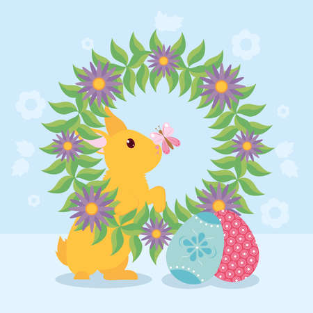 happy easter design with wreath of flowers, rabbit and easter eggs over blue background, colorful design, vector illustration 向量圖像