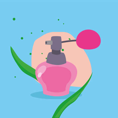 Cosmetic perfum with leaves design, Make up fashion style and skin theme Vector illustration