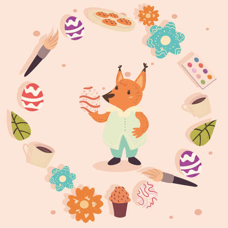 Happy easter fox with icons