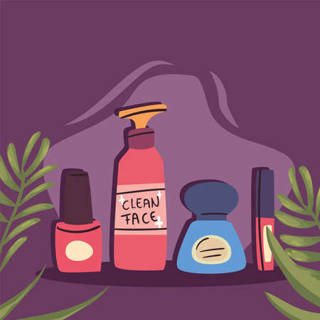 Cosmetic icon collection with leaves design, Make up fashion style and skin theme Vector illustration