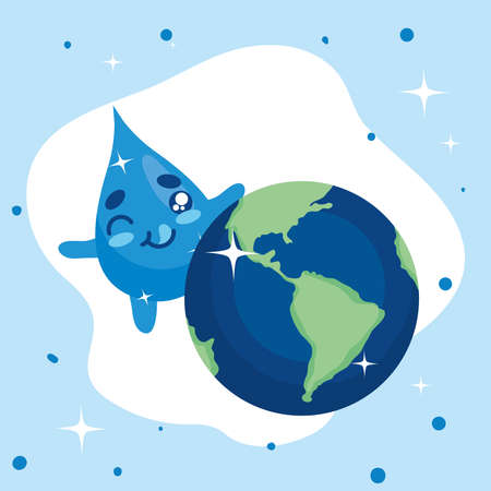 Water day with drop cartoon and world design, Environment save nature and ecology theme Vector illustration