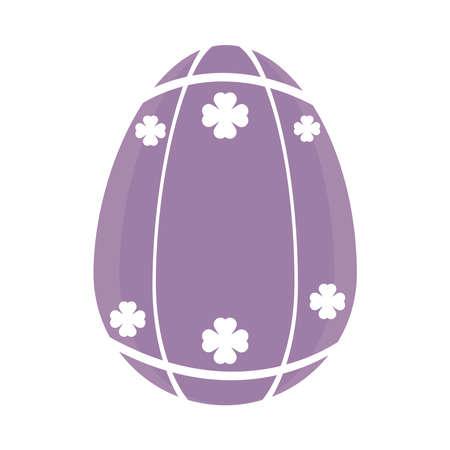 purple easter egg with clovers design over white background, vector illustration