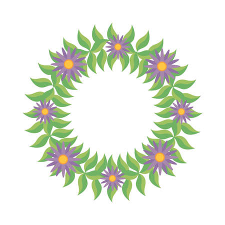wreath of green leaves and purple flowers over white background, colorful design, vector illustration
