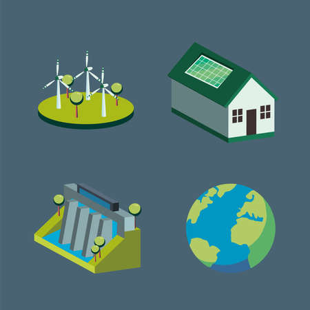 Ecological icon collection isometric design, Save energy power eco sustainable and environmental theme Vector illustration 向量圖像