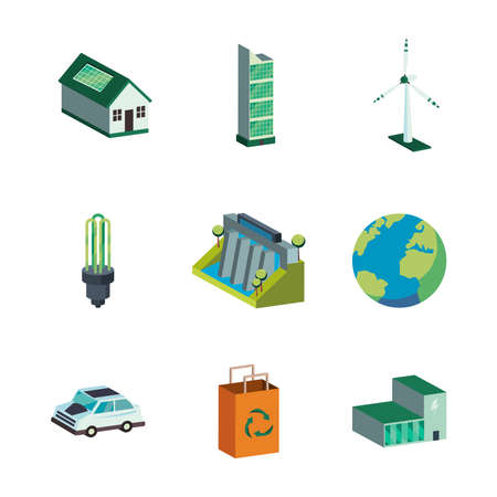 Ecological symbol set isometric design, Save energy power eco sustainable and environmental theme Vector illustration