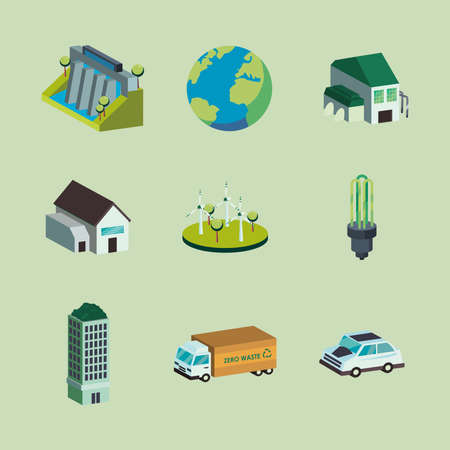 Ecological icon set isometric design, Save energy power eco sustainable and environmental theme Vector illustration 向量圖像