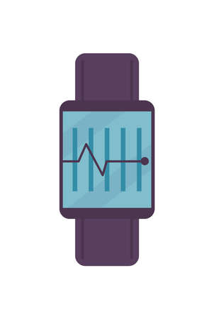 Fitness watch with pulse on white background design, Gym sport and bodybuilding theme Vector illustration