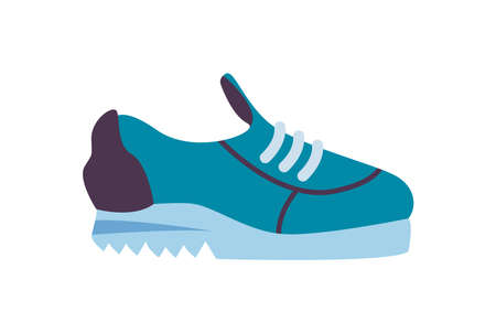 Fitness blue shoe on white background design, Gym sport and bodybuilding theme Vector illustration