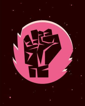 Revolution fist up on pink circle design, Manifestation protest demonstration and political theme Vector illustration 向量圖像