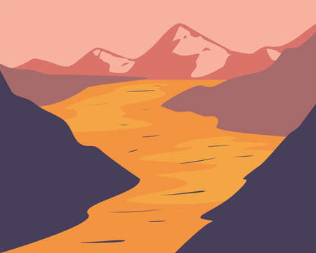 Landscape of desert mountains design, nature and outdoor theme Vector illustration
