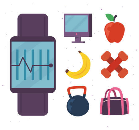 Fitness smartwatch with icon collection design, Gym sport and bodybuilding theme Vector illustration