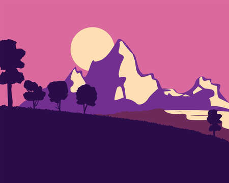Landscape of mountain and trees at night design, nature and outdoor theme Vector illustration