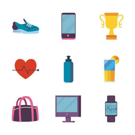 Fitness set of icons design, Gym sport and bodybuilding theme Vector illustration