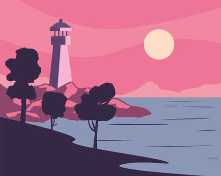 Landscape of lighthouse on beach at sunset design, nature and outdoor theme Vector illustration