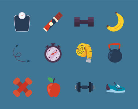 Fitness icon collection design, Gym sport and bodybuilding theme Vector illustration 向量圖像