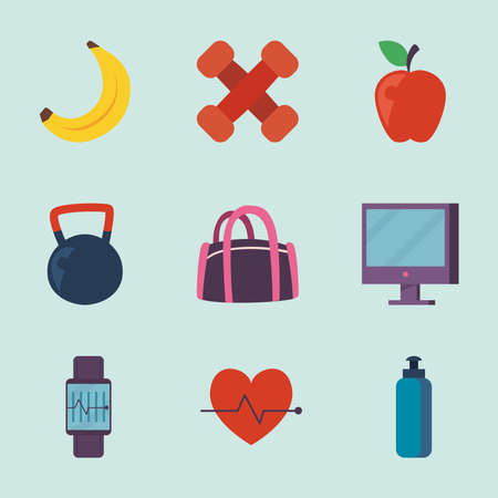 Fitness icon set design, Gym sport and bodybuilding theme Vector illustration 向量圖像