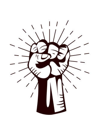 Revolution fist up isolated design, Manifestation protest demonstration and political theme Vector illustration 向量圖像