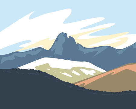 Landscape of mountains design, nature and outdoor theme Vector illustration