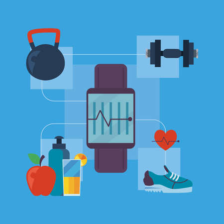 Fitness smartwatch with icon set design, Gym sport and bodybuilding theme Vector illustration 向量圖像