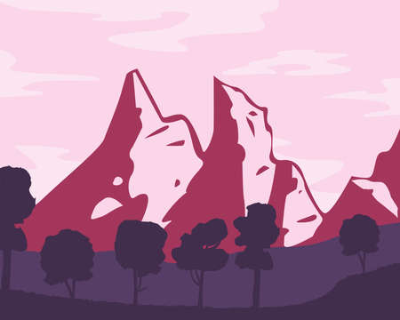 Landscape of mountains and trees design, nature and outdoor theme Vector illustration