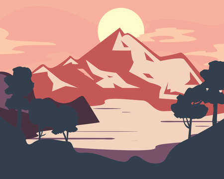 Landscape of mountain and trees design, nature and outdoor theme Vector illustration