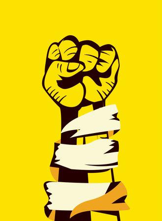 Revolution fist up with ribbon design, Manifestation protest demonstration and political theme Vector illustration 向量圖像