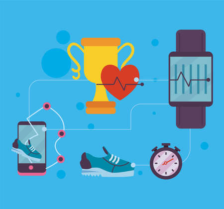 Fitness smartwatch and trophy with icon set design, Gym sport and bodybuilding theme Vector illustration