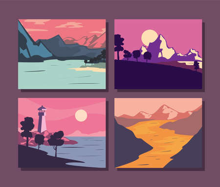 Landscape of mountains posters icon set design, nature and outdoor theme Vector illustration