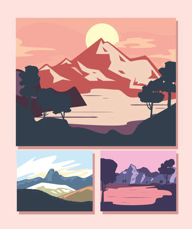 Landscape of mountains posters icon collection design, nature and outdoor theme Vector illustration 向量圖像