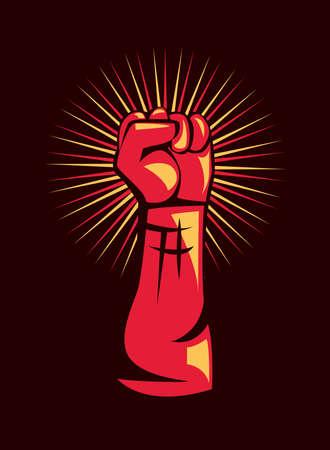 Revolution red fist up design, Manifestation protest demonstration and political theme Vector illustration