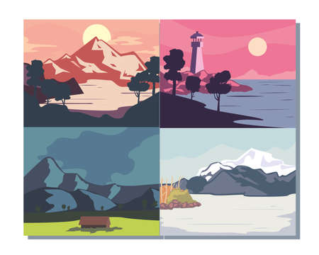 Landscape of mountains posters symbol collection design, nature and outdoor theme Vector illustration 向量圖像