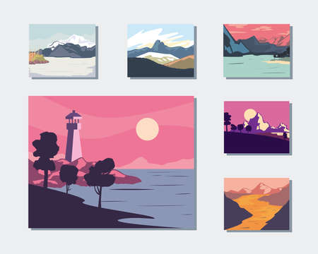 Landscape of mountains posters icon bunde design, nature and outdoor theme Vector illustration 向量圖像