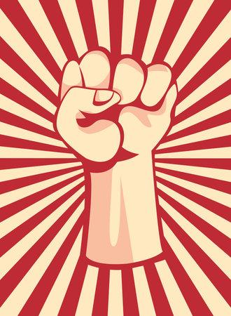 Revolution fist up on striped and retro banner design, Manifestation protest demonstration and political theme Vector illustration