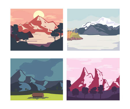 Landscape of mountains posters set design, nature and outdoor theme Vector illustration