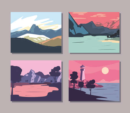 Landscape of mountains banners set design, nature and outdoor theme Vector illustration 向量圖像