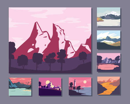 Landscape of mountains posters collection design, nature and outdoor theme Vector illustration