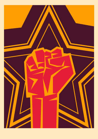 Revolution fist up on star banner design, Manifestation protest demonstration and political theme Vector illustration