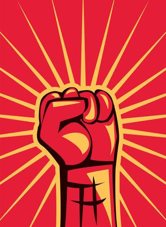 Revolution fist up on red banner design, Manifestation protest demonstration and political theme Vector illustration 向量圖像