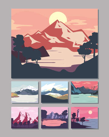 Landscape of mountains posters icon group design, nature and outdoor theme Vector illustration