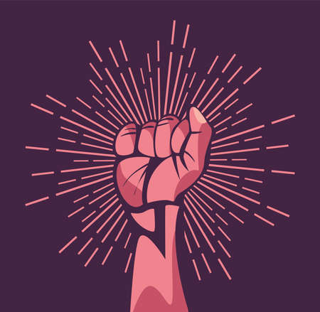 Revolution fist up with lines design, Manifestation protest demonstration and political theme Vector illustration