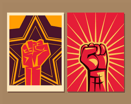 Two revolution fists up banners design, Manifestation protest demonstration and political theme Vector illustration