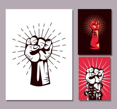Revolution fists up banners symbol set design, Manifestation protest demonstration and political theme Vector illustration 向量圖像