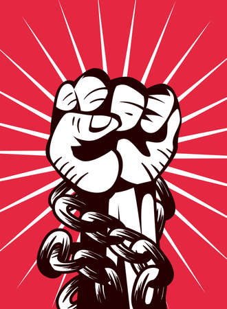 Revolution fist up with chain design, Manifestation protest demonstration and political theme Vector illustration