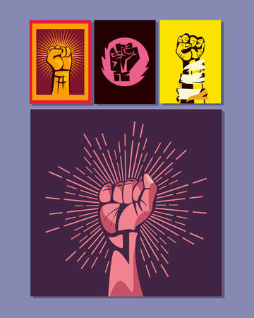 Revolution fists up banners symbol collection design, Manifestation protest demonstration and political theme Vector illustration