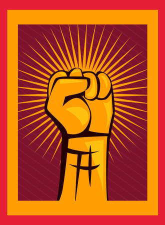 Revolution fist up on orange banner design, Manifestation protest demonstration and political theme Vector illustration