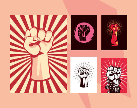 Revolution fists up banners collection design, Manifestation protest demonstration and political theme Vector illustration 向量圖像