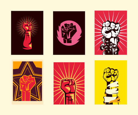 Revolution fists up banners set design, Manifestation protest demonstration and political theme Vector illustration