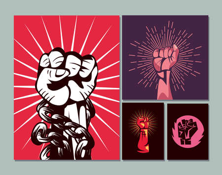 Revolution fists up banners icon group design, Manifestation protest demonstration and political theme Vector illustration 向量圖像