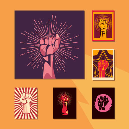 Revolution fists up banners icon set design, Manifestation protest demonstration and political theme Vector illustration